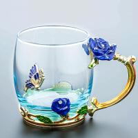 �m��彩水杯玻璃杯子家用套�b花茶水晶咖啡杯啤酒杯�О呀Y婚�Y物