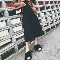 秋冬新款中长款休闲大摆针织裙女中长裙子显瘦高腰百褶半身裙伞裙
