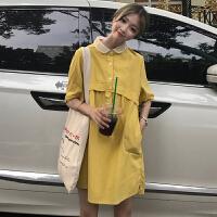 2019夏装新款学院风POLO领连衣裙韩版短袖中长裙学生休闲裙子女装