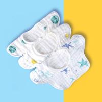 婴儿棉纱布围嘴口水巾宝宝吃饭围兜360度旋转夏季薄款婴儿口水巾