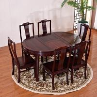 【新品】家具餐桌木可伸缩圆桌仿古茶桌饭桌中式实木圆餐桌椅组合 一桌六椅 其他结构