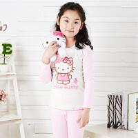 Hello Kitty凯蒂猫女童秋衣套装纯棉儿童保暖内衣宝宝小孩秋冬小女孩秋衣睡衣KT5005