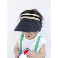 儿童帽子遮阳帽夏季薄款凉帽太阳帽男童空顶帽女宝宝无顶草帽