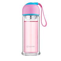 天喜(TIANXI)双层玻璃杯 带盖时尚便携花茶杯子 男女士带过滤茶水分离水杯