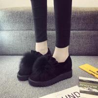 秋冬季新款韩版百搭狐狸毛豆豆鞋厚底坡跟加绒棉鞋内增高女鞋