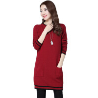 秋冬新款韩版半高领圆领中长款毛衣女套头口袋加厚打底衫外套