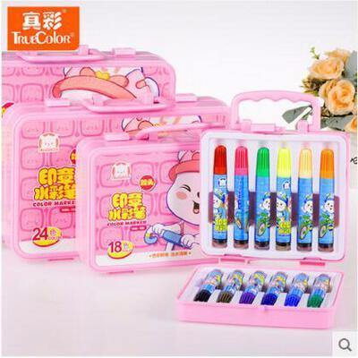 创意文具真彩 卡通 12 24 36色 礼盒装 儿童水彩笔 画笔 儿童彩笔M108彩色笔 外包装*发货