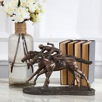 美式奢华办公室软装饰品 欧式桌面摆件 办公桌摆件仿古铜骑马人物雕塑乔迁新居礼物