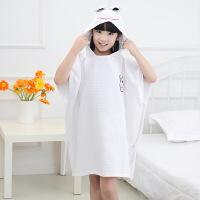 儿童浴巾纯棉斗篷加厚浴袍吸水卡通带帽可穿宝宝女孩中大童男童睡