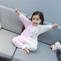 儿童连体睡衣春秋着凉肚凉护肚子女童女宝宝秋卡通动物连体衣