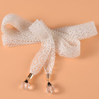 甜美优雅女士蕾丝打结腰带 配裙子水晶装饰细腰链 蝴蝶结窄款裙带