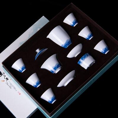 【新品】白瓷青花功夫茶具茶杯盖碗茶具套装茶艺家用简约喝茶礼盒装景德镇 手绘青花简约白瓷