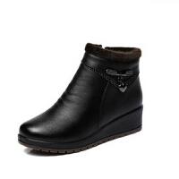 冬季中年女鞋 保暖女加绒平跟皮鞋 老人女鞋 中老年人短靴妈妈鞋棉鞋