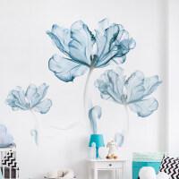 房间ins墙贴纸卧室温馨墙上贴画创意墙面装饰墙纸自粘壁纸小清新 蓝花(赠送蝴蝶) 超大