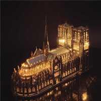 3D金属拼图巴黎圣母院模型圆明园大水法南京阅江楼模型益智拼图