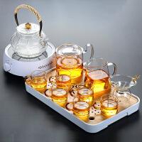 唐丰玻璃茶具茶杯套装功夫透明家用竹制干泡盘电热茶炉煮茶壶简约