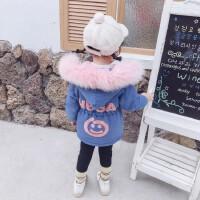 2019新款宝宝洋气中长款加厚棉衣时髦童装女童冬装加绒牛仔外套