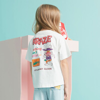 MQD童装女童短袖T恤2020夏新款卡通印花圆领宽松休闲儿童