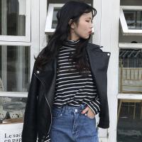 秋冬韩版宽松长袖机车服皮衣短款PU皮拉链翻领夹克开衫上衣外套女 黑色