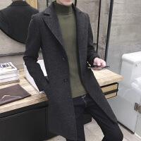 冬季男士外套呢子风衣中长款格子毛呢大衣男韩版加厚帅气修身 2X