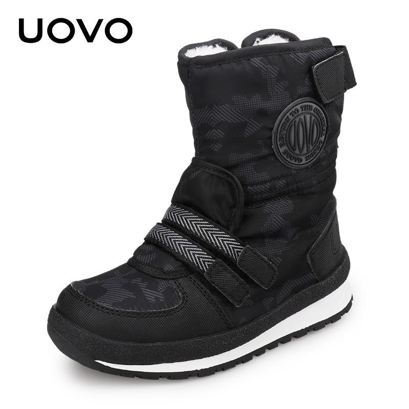 UOVO冬季新款童靴女童短靴儿童雪地棉靴加绒加厚男童靴子 塞纳格【满199减100 满299减180 满499减330】