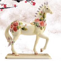马客厅酒柜装饰品摆件欧式家居隔断房间室内陶瓷摆设品小创意 玫瑰马