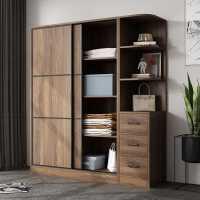 推拉门衣柜现代简约儿童实木柜子组合大衣橱家用卧室组装出租房用