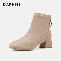 Daphne/达芙妮后拉链短靴女2019新款中跟马丁靴短筒弹力瘦瘦靴---