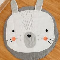 北欧动物造型婴儿爬行垫儿童圆形地垫地毯宝宝游戏垫 灰色兔子 直径90-100CM