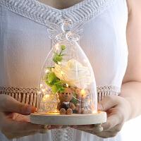 【品牌特惠】创意永生干花浪漫玻璃罩小熊玫瑰摆设件家居装饰女生礼物情人礼品