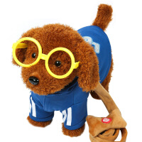 儿童电动毛绒玩具狗狗会唱歌会叫电子机器狗仿泰迪牵绳走路小狗 蓝色 泰迪牵绳狗