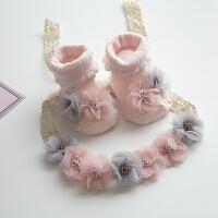儿童发带韩国公主宝宝头带女童满月新生儿拍照花朵蕾丝亲子款头饰 袜子发带套装 0-3个月