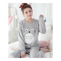 珊瑚绒睡衣女冬季加厚甜美可爱龙猫套装法兰绒韩版学生春秋家居服