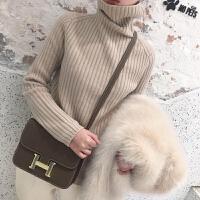 羊毛衫打底高领毛衣女2018新款秋冬套头宽松的慵懒风上衣