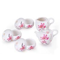 陶瓷故事 白瓷茶壶八件套装 绘火莲茶壶茶杯功夫茶道 茶具套组