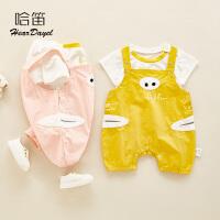 夏季宝宝分体T恤儿童夏装外出服婴儿背带裤套装宝宝薄款短袖衣服