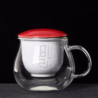 唐丰茶杯玻璃耐热办公杯陶瓷过滤内胆个人杯家用带盖主人杯会议杯