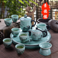 【新品】景德镇手绘茶具套装家用陶瓷功夫茶具茶盘托整套茶壶茶道茶杯套装 锦绣山河 12件