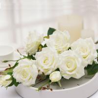 雪山玫瑰 仿真花多头玫瑰花假花装饰花绿叶客厅家居软装摆件 三支 白色 三支