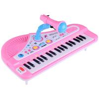 儿童乐器 37键插电带麦克风电子琴 多功能音乐钢琴玩具 彩盒包装