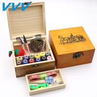 复古实木针线盒套装手工针线手缝家用缝纫线绣花针收纳盒针线包
