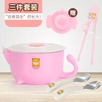 儿童餐具碗勺套装保温注水碗不锈钢家用婴儿吸盘碗宝宝辅食工具A 红色(全套) 配吸盘