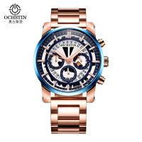 2018新品 男士6针跑秒运动瑞士腕表 时尚夜光精钢防水石英手表