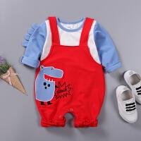 婴儿爬服婴儿春秋背带裤两件套连体衣爬服0-1-3岁新生儿包屁衣套装新品XM-5