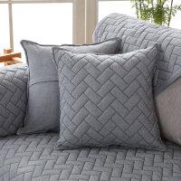 纯色纯棉抱枕套靠垫套含芯沙发靠垫办公室午睡枕靠垫欧式长条长方形加厚枕套寝室单个舒适清新纯棉北欧个性