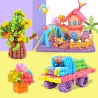儿童手工制作材料包幼儿园益智粘粘乐女孩魔法diy玉米粒玩具片