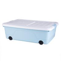 床底收纳箱塑料特大号床下衣服被子整理箱扁平衣物加厚滑轮储物箱 水晶蓝 60*43*20 一个装