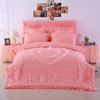 婚庆多件套件套大红结婚公主四件套床上用品婚庆床罩加厚豪华韩版百子家纺床盖米床定制