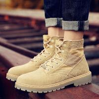 马丁靴男靴子雪地中帮工装沙漠靴男士百搭冬季高帮男鞋短靴潮