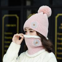 帽子女冬天针织毛线帽护耳保暖加厚韩版百搭秋冬季骑车加绒连体帽